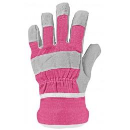Kinder handschoenen leer roze