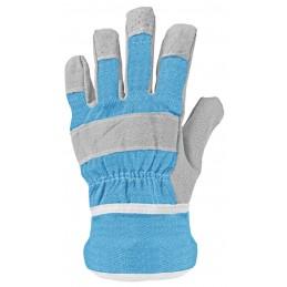 Kinder handschoenen leer blauw
