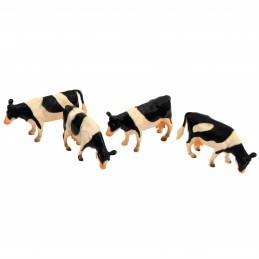 Speelgoed koeien zwart/wit 4 stuks 1:50