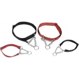 Halsband nylon verstelbaar met ketting 35-50X20 Zwart