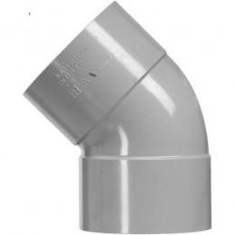 PVC bocht 50mm 2xlm 45 graden grijs