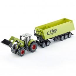 Claas Axion met voorlader dolly en Fliegl kiepwagen
