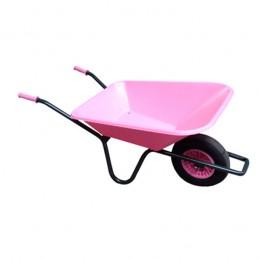 Tuinkruiwagen PP bak 90L gelakt onderstel roze